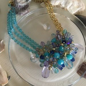 Asymmetrical jeweled necklace